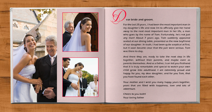 Wedding speech in a photo book