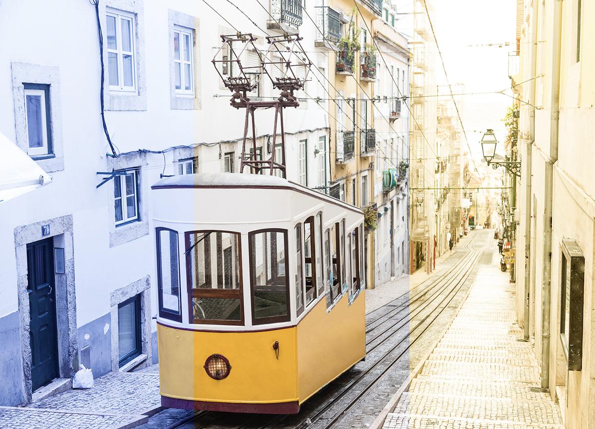 Photo d'un tramway remontant une rue étroite. La photo est divisée en trois pour mettre en évidence la balance des blancs: le premier tiers est bleuté, le milieu est équilibré et le tiers de droite affiche une teinte jaunâtre.