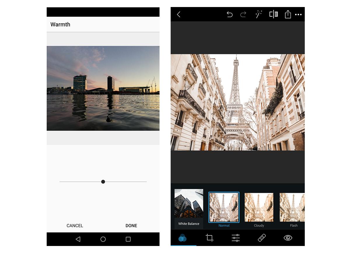 Captures d'écran des contrôles de la balance des blancs sur un smartphone.