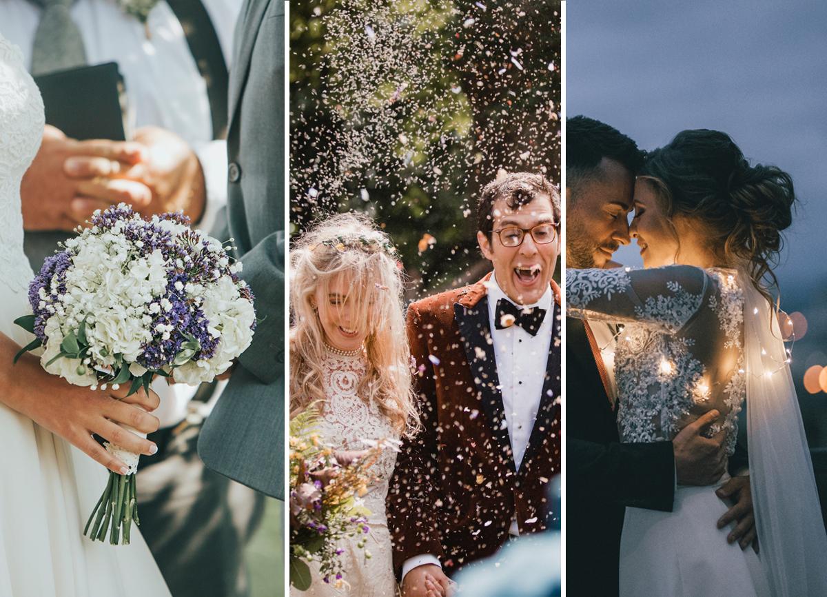 Tre bröllopsfoton sida vid sida. Den första är av en brud som håller en bukett och tittar på sin man. Den andra är av en brud och brudgum i ett moln av konfetti. Den tredje är bruden och brudgummen som dansar på natten med kulörta lampor runt dem.