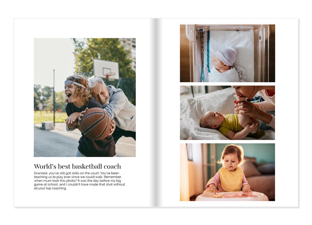 Zwei Seiten eines Fotobuchs, die erste zeigt ein Foto von einem Großvater und seinem Enkel beim Basketballspielen, darunter eine Bildunterschrift. Die zweite zeigt drei Bilder von einem Kind in unterschiedlichen Phasen, vom Neugeborenen über zu Hause als Baby bis hin zum Sitzen im Hochstuhl als Kleinkind.
