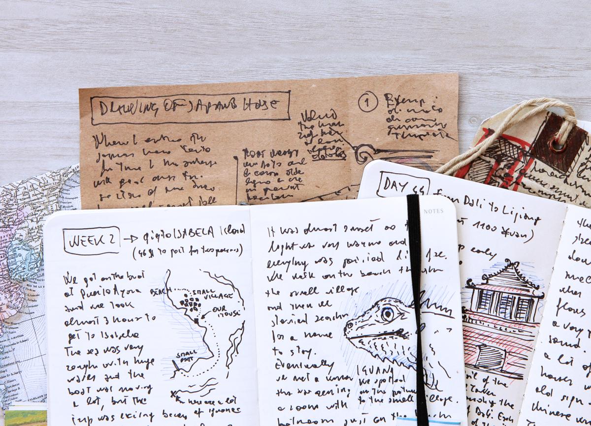Photo d'un livre de voyage, avec croquis et pages d'un journal intime.